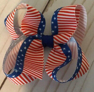 TaylorMade Custom Boutique hair Bow Red White Blue Swirls 4th July Bow New