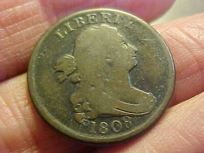 1808 Draped Bust  Half Cent  Nice Very Good Plus Great Old Coin