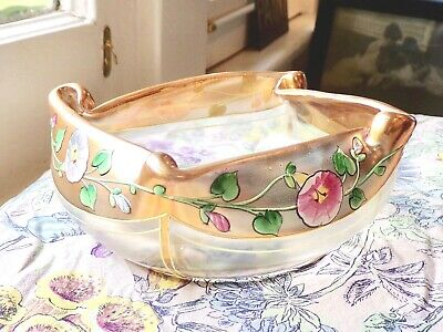 Antique Late Art Nouveau French Glass Folded Crnr Bowl - Enamel Morning Glories