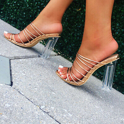 77cec2f389d CAPE ROBBIN FIA Rose Gold Strappy Open Toe Slip On Snake Mule Clear Lucite
