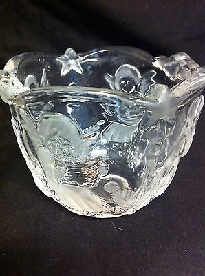 2 Christmas Themed Clear Etched Crystal Angel Candle Holder