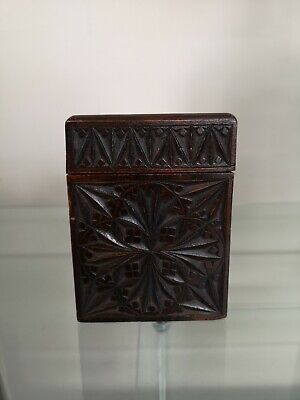 A Beautiful Vintage Wooden Carved Playing Card Box Complete With Cards
