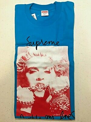 3a276b823878 Supreme X Madonna Photo Tee Blue SOLD OUT FW18 WEEK1 MEDIUM FW18T1 IN HAND