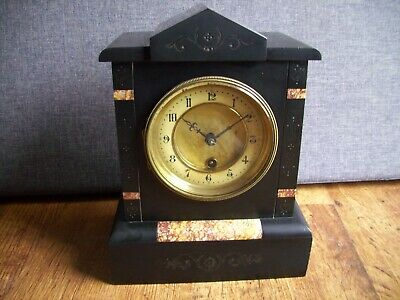Antique 19th Century HAC Slate and Marble Mantel Clock with Engraved Design Key