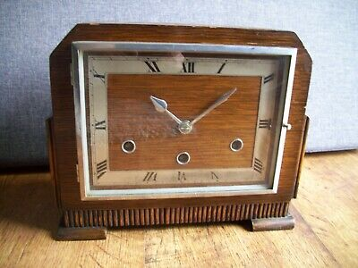 Antique 1930's Art Deco Norland Oak Mantel Clock with Westminster Chime (Square)