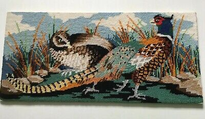 "Vintage Completed Penelope Wool Tapestry Canvas ""Pheasants"""
