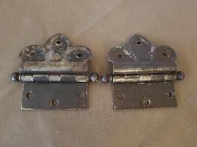 2 Vintage Cannon Ball Fleur-de-Lis Hinges. Manufacturer Marked G.M.O/D. Clover