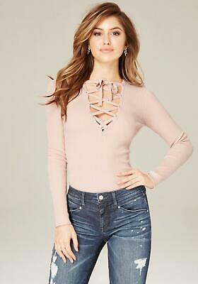 Bebe Women's Solid Lace Up V-top Pink Size S NEW with tag