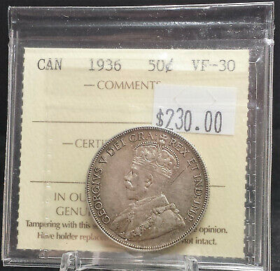 1936 Canada 50 cent Silver ICCS Certified VF30. A114
