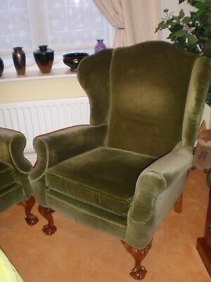 Victorian Antique Wing back Armchair with Ball & Claw Feet