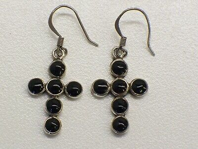 Vintage Native American Sterling Silver Cross Dangle Earrings With Black Onyx