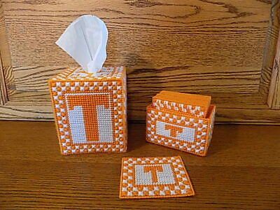 Plastic Canvas University of Tennessee Tissue Box and Coaster Set