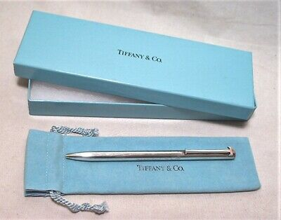 Vintage Tiffany & Co. Sterling Classic T Clip Ballpoint Pen In Ob W/ Storage Bag