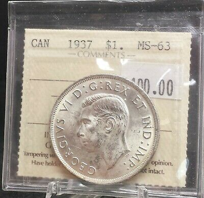 1937 Canada Silver Dollar ICCS Certified MS63. A129