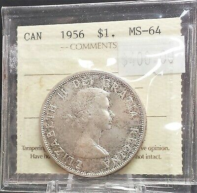 1956 Canada Silver Dollar ICCS Certified MS64. A139
