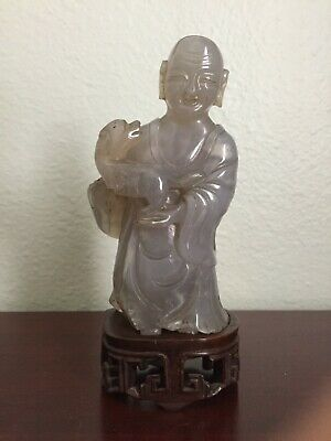 Antique Chinese Qing Dynasty Agate Carving Carved Monk Luohan with Wood Stand