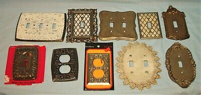Lot of 10 Vintage Metal Switchplate, Electrical Covers