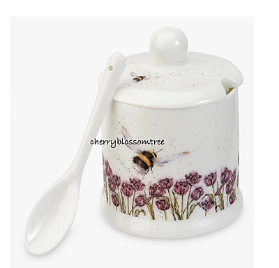Ltd Ed Royal Worcester Wrendale Bee Jam, Conserve, Honey Pot & Spoon Bone China