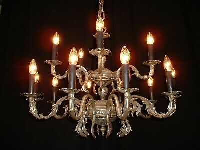 Old Large French brass 2 tier chandelier silver finish France