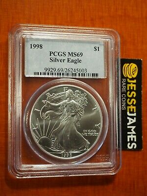 1998 $1 American Silver Eagle Pcgs Ms69 Classic Blue Label Better Date!