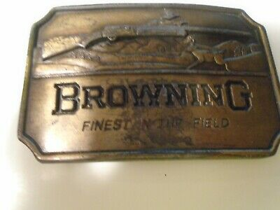 BROWNING FINEST IN THE FIELD INDIANA METAL CRAFT BELT BUCKLE vintage usa