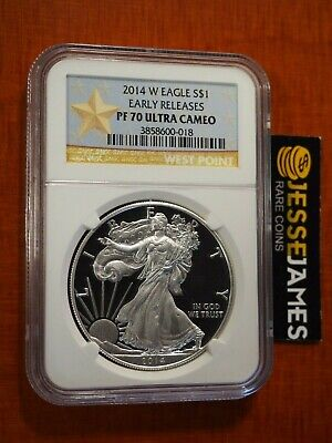 2014 W Proof Silver Eagle Ngc Pf70 Ultra Cameo Early Release Gold Star Label