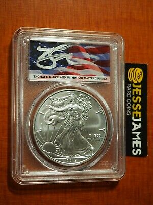 2019 W Burnished Silver Eagle Pcgs Sp70 Flag Cleveland First Strike Pop 60