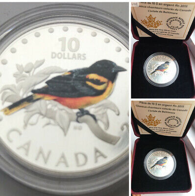 (1) 2015 $10 Colorful Songbirds of Canada: The Baltimore Oriole, Pure Silver