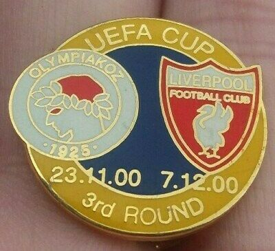 Liverpool Fc V Olympiakoz Uefa Cup 3Rd Round 2000 Pin Badge Vgc