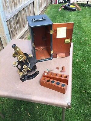 Vintage Antique 65051 Brass BAUSCH & LOMB Optical USA Microscope