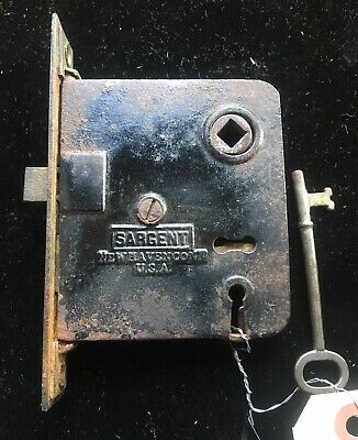 Antique Sargent Iron Casing Side Of Door MORTISE LOCK w Working Skeleton KEY