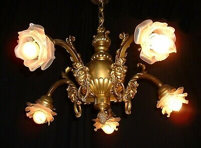 Antique French bronze Acanthus leaves original frosted shades chandelier France