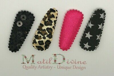 Baby Girls Non Slip Hair Clips ~ 3cm Snap Clips ~ Set of 4 ~ Black / Hot Pink