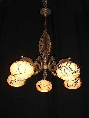 Antique large French bronze Art Deco style chandelier with shades France