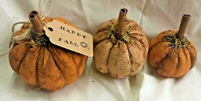 Fall/Farmhouse/Pumpkins/Bowl Fillers/Primitive/Grunged/Set of Three