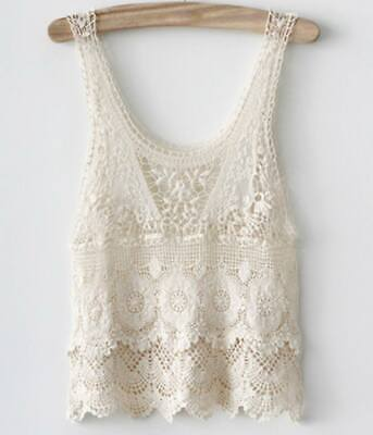 New! Ex Store Girls Pretty Crochet Cotton Summer Layering Top Age 14/16