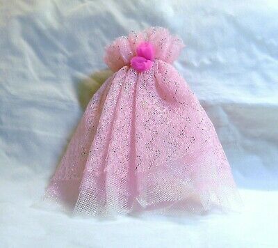 """Barbie Doll Size Light Pink Glittery Tulled Layered Accessory Or Skirt? 4.5"""""""