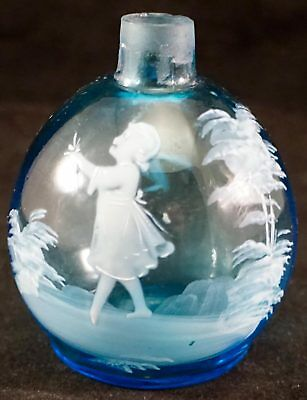 Mary Gregory Bottle Blue Glass Enameled Girl with Flower Walking Outside