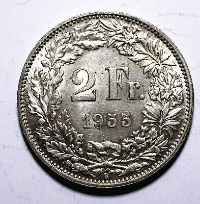 1955 Switzerland 2 Two Francs - 83.5% Silver - Lot 728