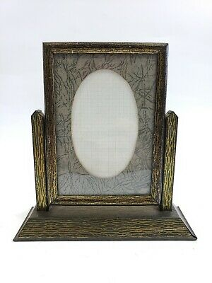 "Vintage Tilt Swivel Picture Frame Tin Litho Metal w Mat & Glass 3.5"" x 5"" 1920s"