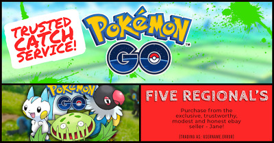 Pokemon Go! FIVE Regional's of your choice! Trusted Catch Service!