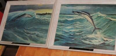 Pair of Seagrams's 7 W. Goadby Lawrence Oil on Canvas, Wahoo & Striped Bass,