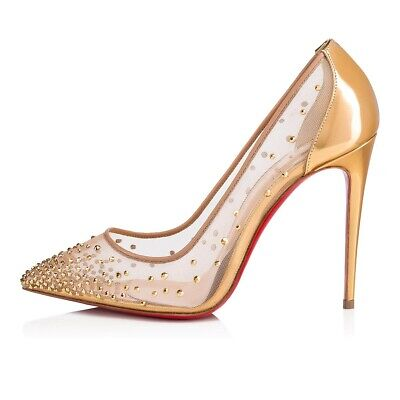 info for a1058 94d6e NIB CHRISTIAN LOUBOUTIN 'Follies Strass' Mesh 100mm Pumps Heels 8/38 $1195