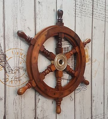 "Sailboat Nautical Steering W/Brass Hub Wall Decor 18"" Ship Wheel Pirate Captains"
