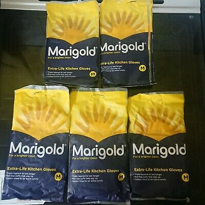 Pack of 5 Pairs of medium Marigold Extra Life Kitchen Washing Up Yellow Gloves