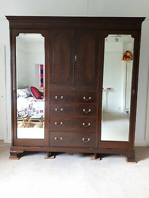 Victorian Antique Mahogany Triple Wardrobe