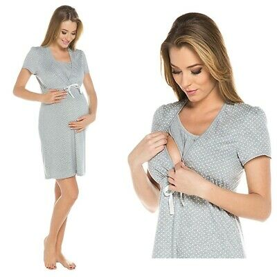 Pregnant Maternity Nightdress Nightwear Nursing Breastfeeding Size 12/L