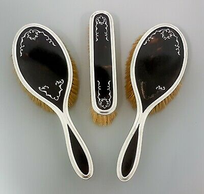 Art Deco sterling silver pique faux tortoiseshell 3pc clothes hairbrush set lot