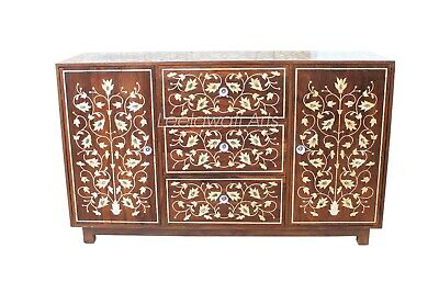 Indian Handmade Mother Of Pearl Inlay Floral Design Chest Of  2 Door 3 Drawer
