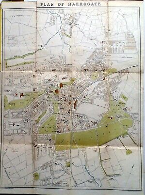 "Bartholomew Survey Series map of HARROGATE c.1910 about 8"" to mile cloth"